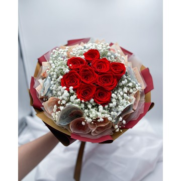 Practicality x 9 Red Preserved Roses | Money Bouquet